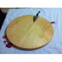 Tabla Madera Pino Circular Plato Para Pizza Redonda 44cm