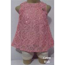 Conjunto Shorts/blusa Carinhoso Rosa Lançamento- Tamanho 08