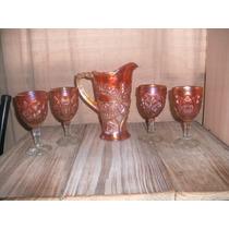 Antiguo Juego Jarra Y Copas Carnival Glass