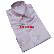 Camisa Social Masculina Seda/cetim Branca