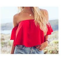 Blusas De Mujer Campesinas Elegantes Todos Los Colores 073
