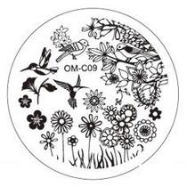 Placa Para Decoración De Uñas Con Sello Om-c09