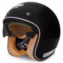 Capacete Zeus Helmets 380fa Gloss Leather Preto Viseira Uv