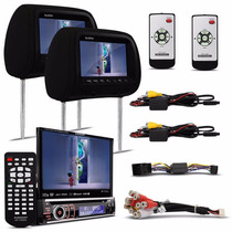 Dvd Player Lcd 7 Touch Retratil + Tela Encosto Cabeca Preto