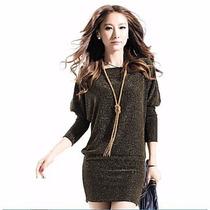 Mini Vestido Tipo Blusón, Color Oro