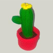 Cactus Tejido A Crochet 26 Cm - Artesanal - Tienda Inclusiva