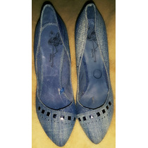 Zapatos Taco Mujer Importado Jean Denim Tachas Sexy