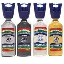 Pintura Dimensional Acrilex 3d Metalizada 35 Ml X 5 Unidades