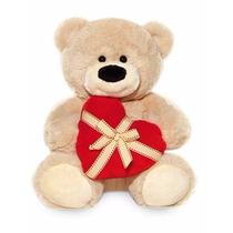 Ursinho De Pelúcia Bege Com Coração Buba Toys