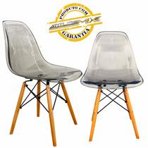 Cadeira Acrílico Fumê Eames Wood Design Transparente Dsw