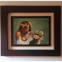 Cuadro Al Óleo De Mujer Con Flores
