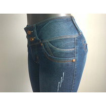 Bello Pantalon Dama Blue Jeans Levanta Cola Strech Studio F
