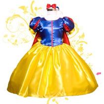Vestido Princesa Disfraz Blanca Nieves Tela De Lujo