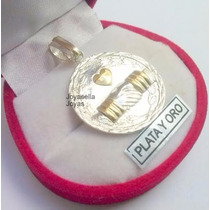 Dije Medalla Plata Y Oro Amistad