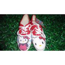 Zapatos Pintados A Mano Hello Kitty Para Niña 60% Descuento