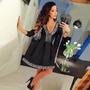 Vestido Globo Negro Cuello V Dress Ladies Evening Party Mini
