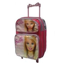 Mochila Escolar De Rodinhas Personagem Infantil Barbie Tam G