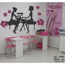 Adesivo Parede Manicure Salão De Beleza Cabeleireiro +brinde