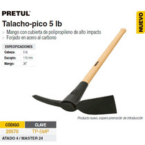 Talacho-pico 5 Lbs Mgo Madera Pretul