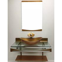 Gabinete Vidro Cuba Oval Dourado 90cm + Misturador + Kit Ace