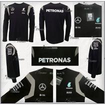 Playera Mercedes Amg Petronas F1 2016 Manga Larga Genuina