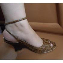Zapatillas Andrea Color Camel Tacon Wedge No. 5.5