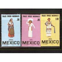 1981 Mèxico Trajes Tipicos Serie 3 Sellos Mint Nh.