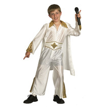 Disfraz De Elvis Presley Blanco Para Niños Talla Small