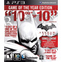 Batman Arkham City Ps3 Goty Edition Mídia Física Lacrada 3d