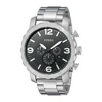 Fossil Jr1353 Nate Reloj Cronógrafo De Acero In Envío Gratis