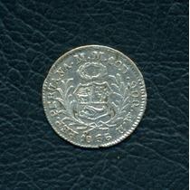 Moneda Perú 1856 Mb 1/2 Real Km#144.7 (plata)