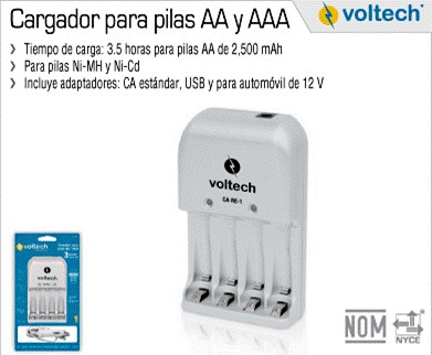 Cargador de baterias aa y aaa volteck pilas en - Cargador para pilas ...