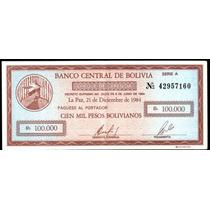 Bolivia 100000 Bolivianos,año 1984,bono-cheque Sin Circular