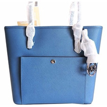 Bolso Michael Kors Jet Set Tote Blue Steel Original, Nuevo