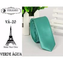 Gravata Slim Fit Verde Água Importada Poliéster Acetinad 5cm