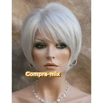 Peluca Super Natural Corta Color Rubia Plata