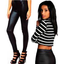 Calza Legging Negra Brillosa 100% Lycra Premium Envio Gratis