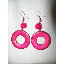 Gcg Aretes De Coco Circulos Color Rosa Mexicano Y Rojo