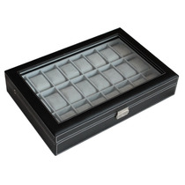 Gran Caja/estuche Cuero Negro Para Guardar 24 Relojes