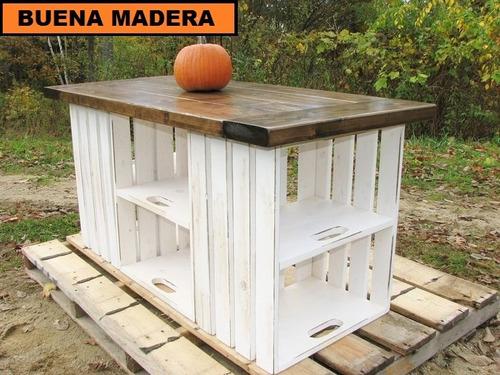 Isla Para Cocina, Rustica Mesa Auxiliar // Buena Madera - $ 4.300,00 ...