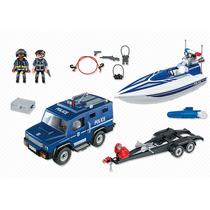 Playmobil - Caminhão Policial Com Lancha Motorizada - 5187