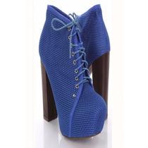 Zapatos Mujer Importados Plataforma Bota Botineta Azul Red