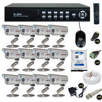 Kit Cftv Dvr 16 Ch + 12 Câmeras Infravermelho Ccd Sony C2016