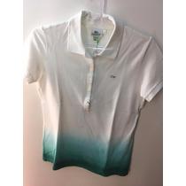 Camiseta Gola Polo Lacoste Feminina Degradê Branco Verde