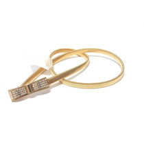 Cinto Feminino Elástico De Metal Dourado Laço C Strass Natal