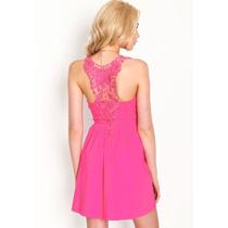 Vestido Importado E E U U Crochet Espalda Color Coral