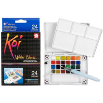 Kit De Acuarelas Koi Sakura 24 Colores Más Pincel Con Deposi