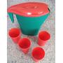 Jarra Plastica Con 4 Vasos Playa Camping Oficina