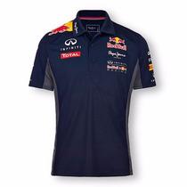 Camisa Corrida Oficial Polo Red Bull Manga Curta Botão Nova