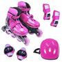 Kit Roller - Patins Inline Com Proteções - Rosa P: 28-31 Br